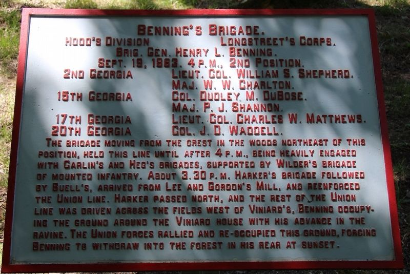 Benning's Brigade Marker image. Click for full size.