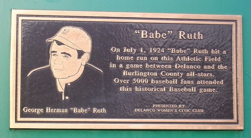 """Babe"" Ruth Marker image. Click for full size."