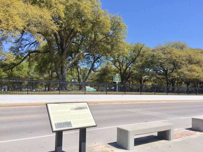 View of Camp Jefferson Davis Marker & former camp location from Pascagoula Promenade. image. Click for full size.