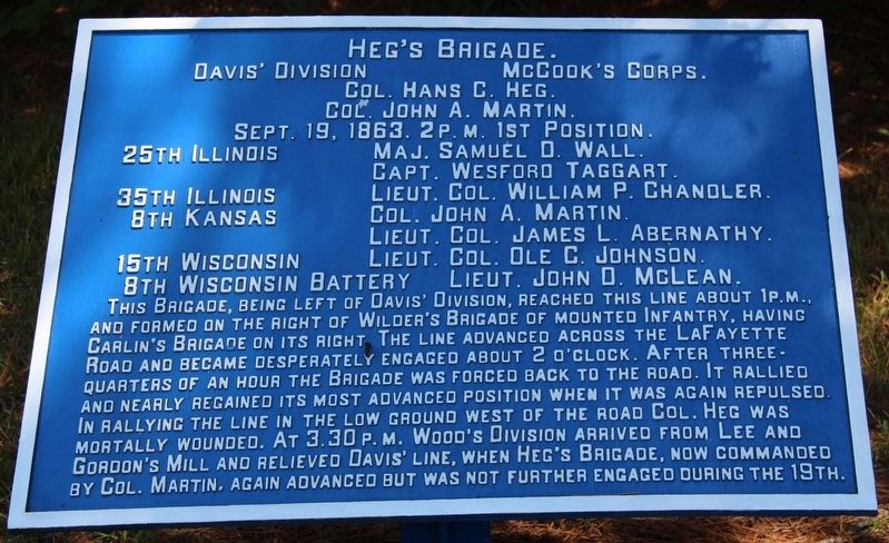 Heg's Brigade Marker image. Click for full size.