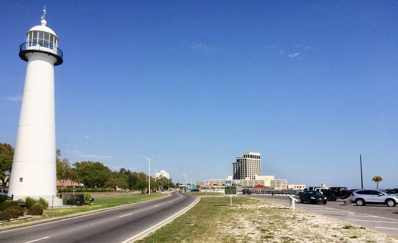 View of Biloxi Lighthouse Marker looking east on Highway 90. image. Click for full size.