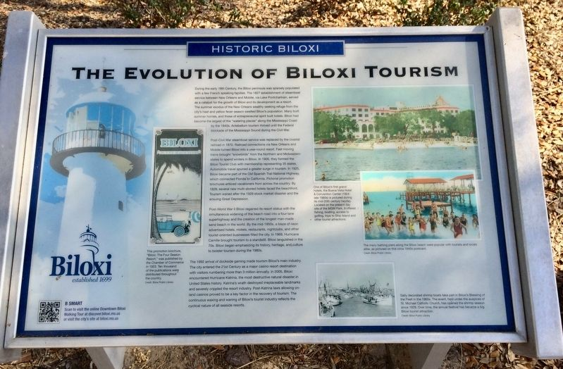 The Evolution of Biloxi Tourism Marker image. Click for full size.