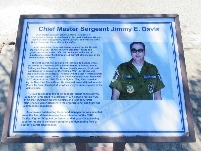 Chief Master Sergeant Jimmy E. Davis Marker image. Click for full size.