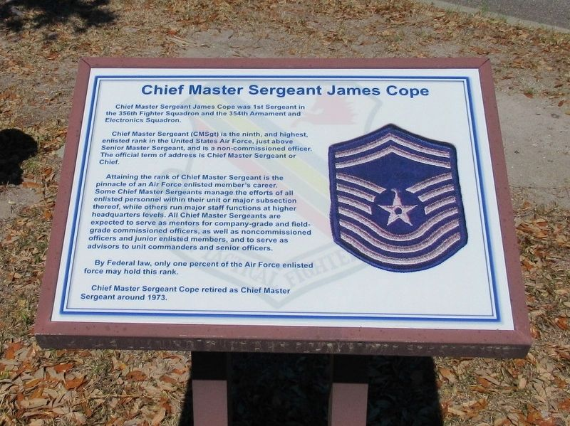 Chief Master Sergeant James Cope Marker image. Click for full size.