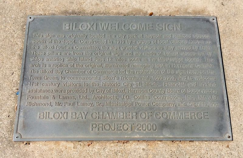 "Plaque in the sidewalk below the ""Biloxi"" sign. image. Click for full size."