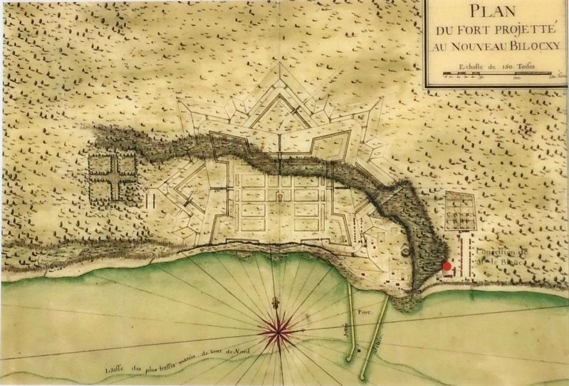 Map of original settlement of Nouveau Bilocxy (Biloxi) with marked location of Moran Site image. Click for full size.