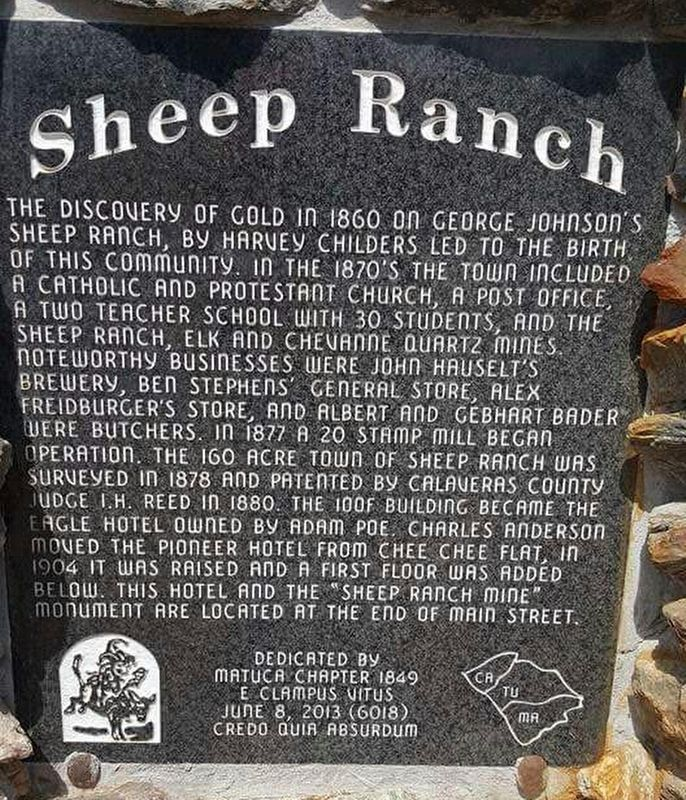 Sheep Ranch Marker image. Click for full size.