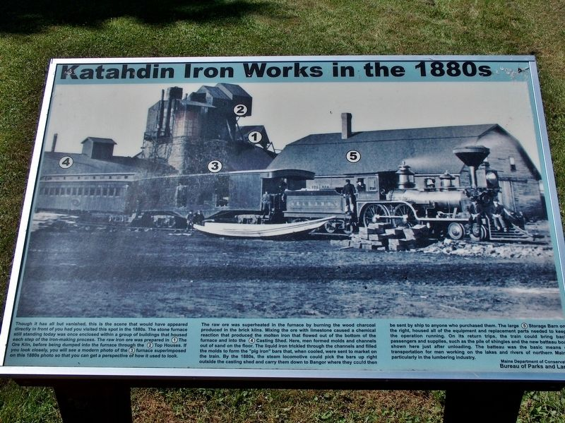 Katahdin Iron Works in the 1880's Marker image. Click for full size.