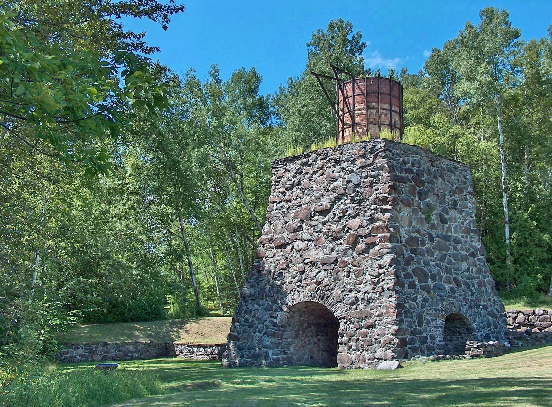 Katahdin Iron Works Furnace Ruins (<b><i>marker visible left of furnace ruins</b></i>) image, Touch for more information