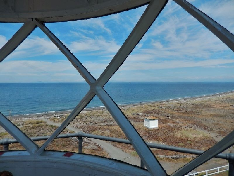 San Jaun Straits view north from inside lighthouse tower image. Click for full size.