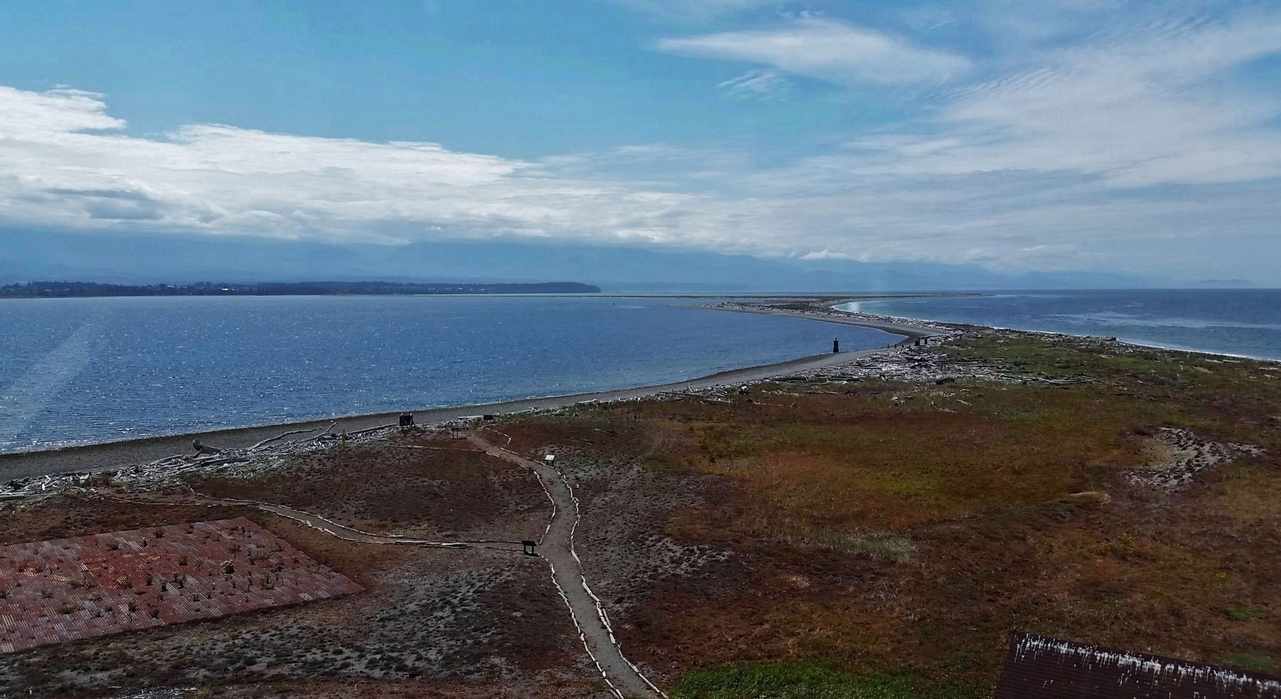 View Southwest from Lighthouse, across Dungeness Spit, to Sequim, WA and Olympic Mountains image. Click for full size.