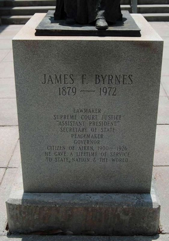 James F. Byrnes Monument<br>Front Inscription image. Click for full size.