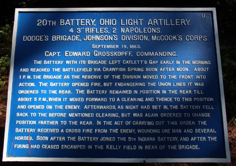 20th Ohio Battery Marker image. Click for full size.