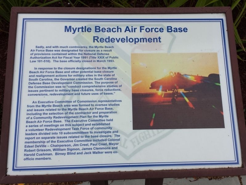 Myrtle Beach Air Force Base Redevelopment Marker image. Click for full size.