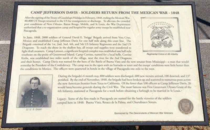 Camp Jefferson Davis - Soldiers Return From The Mexican War - 1848 Marker image. Click for full size.