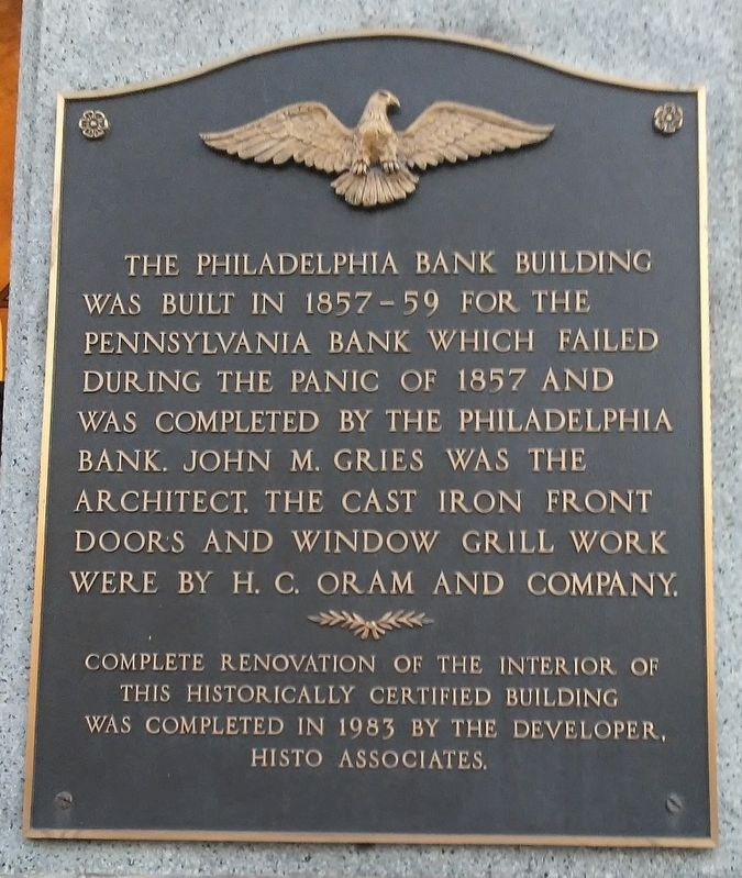 Philadelphia Bank Building Marker image. Click for full size.