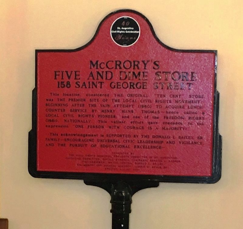 McCrory's Five And Dime Marker image. Click for full size.