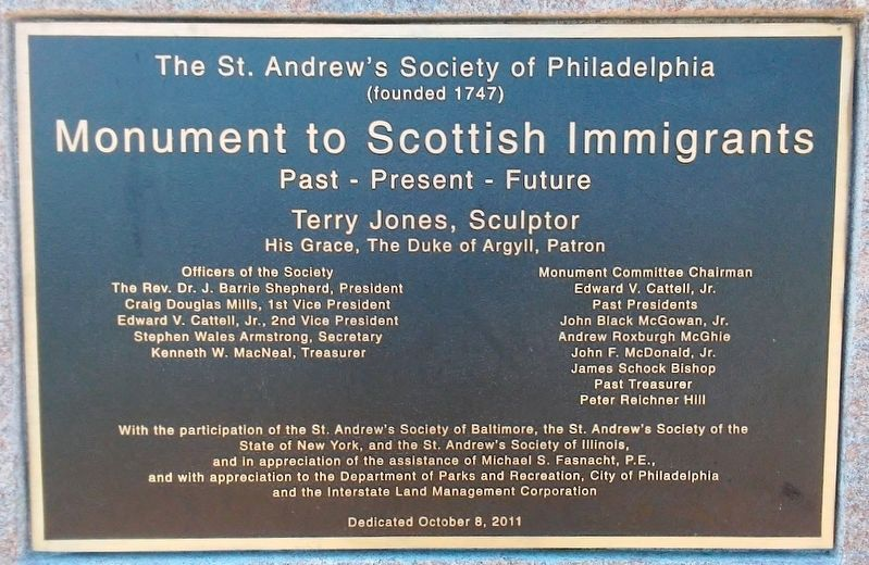 Monument to Scottish Immigrants Marker image. Click for full size.