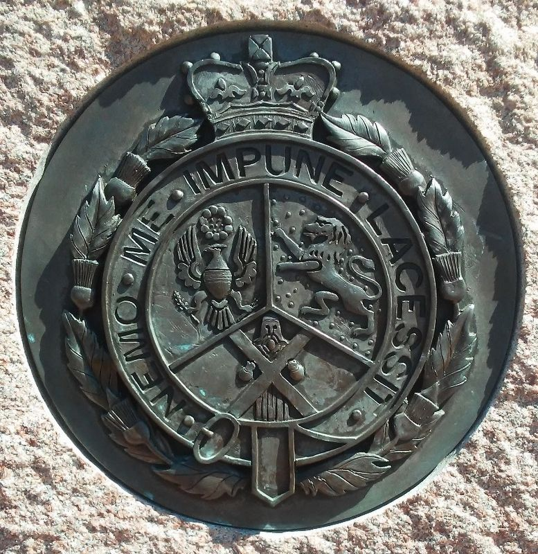 St. Andrew's Society of Philadelphia Seal on Monument to Scottish Immigrants image. Click for full size.