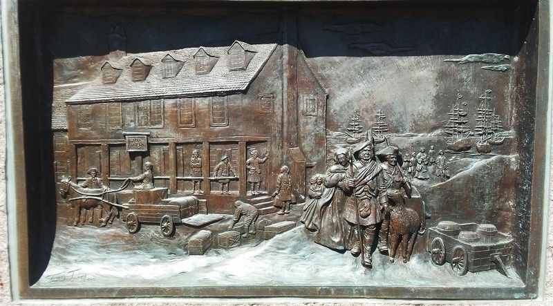 Tun Tavern Bas Relief on Monument to Scottish Immigrants image. Click for full size.