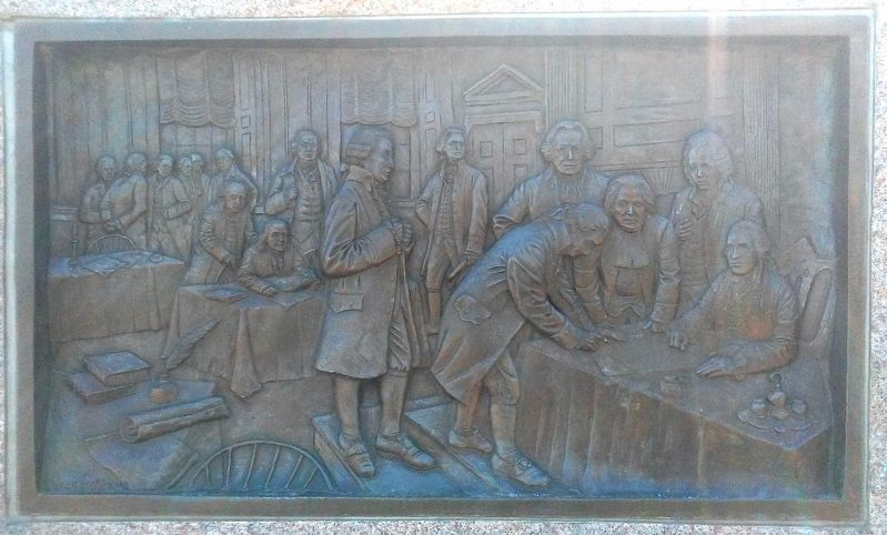 Declaration of Independence Bas Relief on Monument to Scottish Immigrants image. Click for full size.