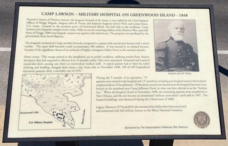 Camp Lawson – Military Hospital on Greenwood Island – 1848 Marker image. Click for full size.