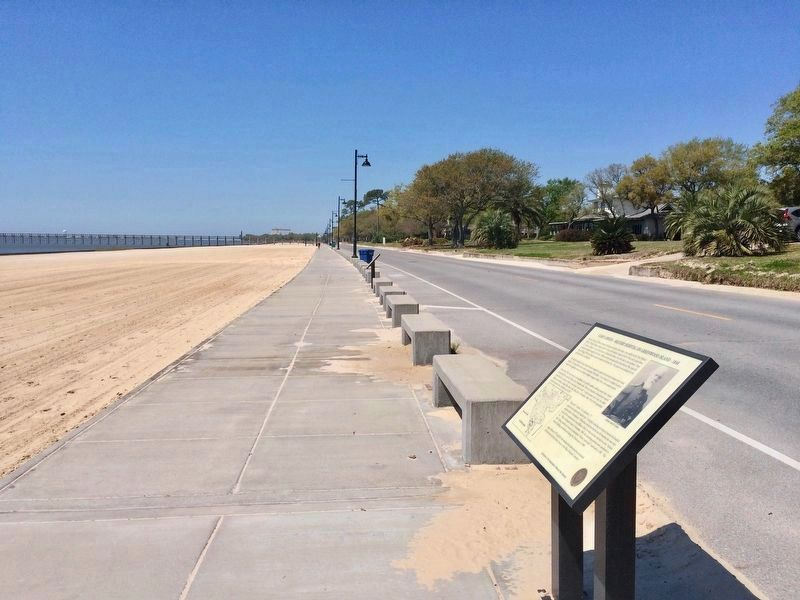 View of marker looking west along the Pascagoula Promenade. image. Click for full size.