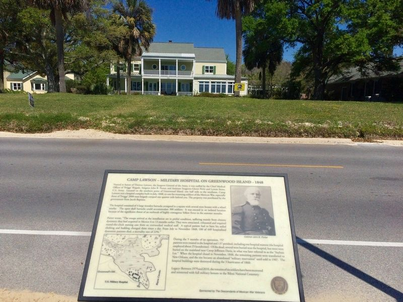 View of marker showing Colonel John B. Porter & map of Greenwood Island and hospital. image. Click for full size.