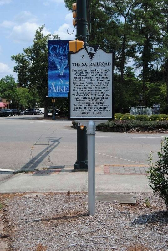 The S.C. Railroad Marker<br>Reverse image. Click for full size.