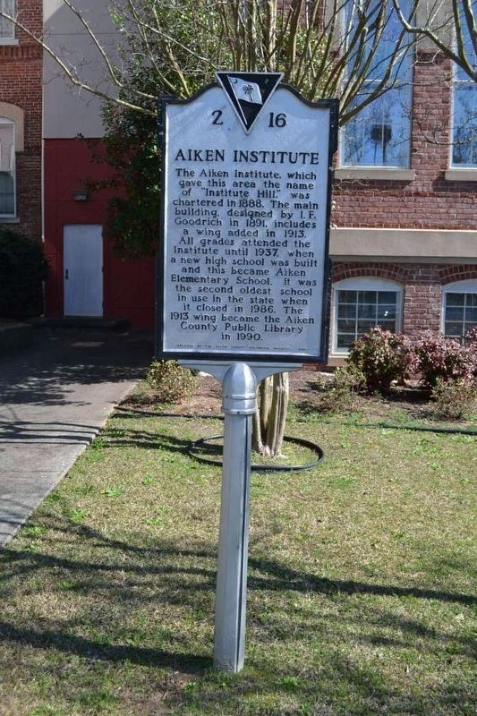 Aiken Institute Marker image. Click for full size.