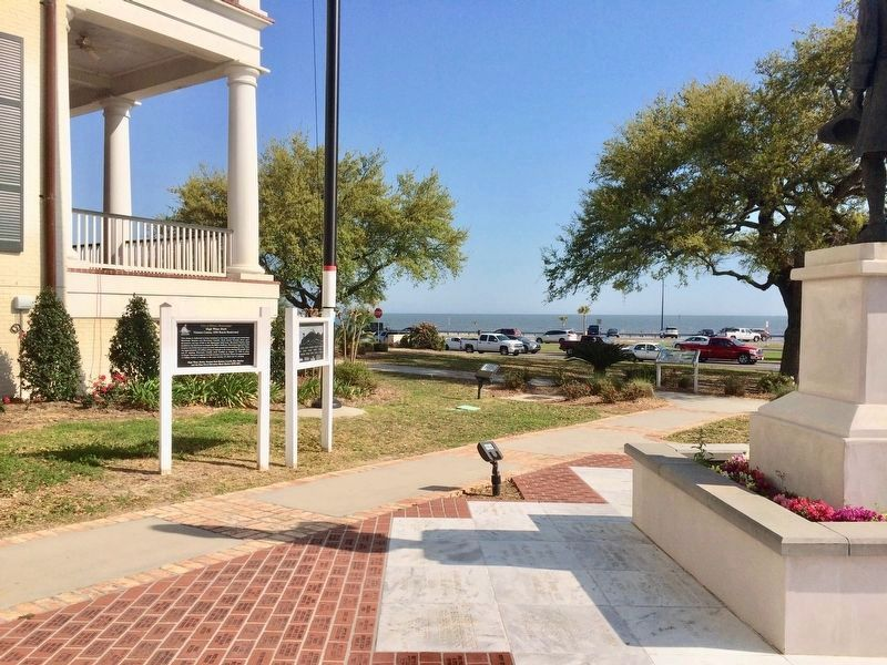 Area view of marker at Biloxi Visitors Center looking at the Gulf of Mexico. image. Click for full size.