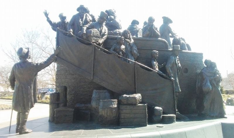 Arrival in a New World Detail on the Irish Memorial image. Click for full size.