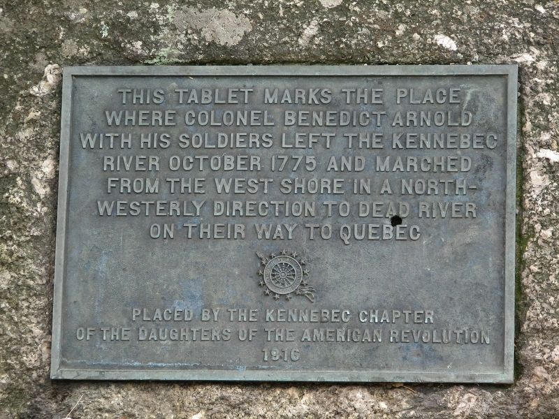 Benedict Arnold 1775 Kennebec River Crossing Marker image. Click for full size.