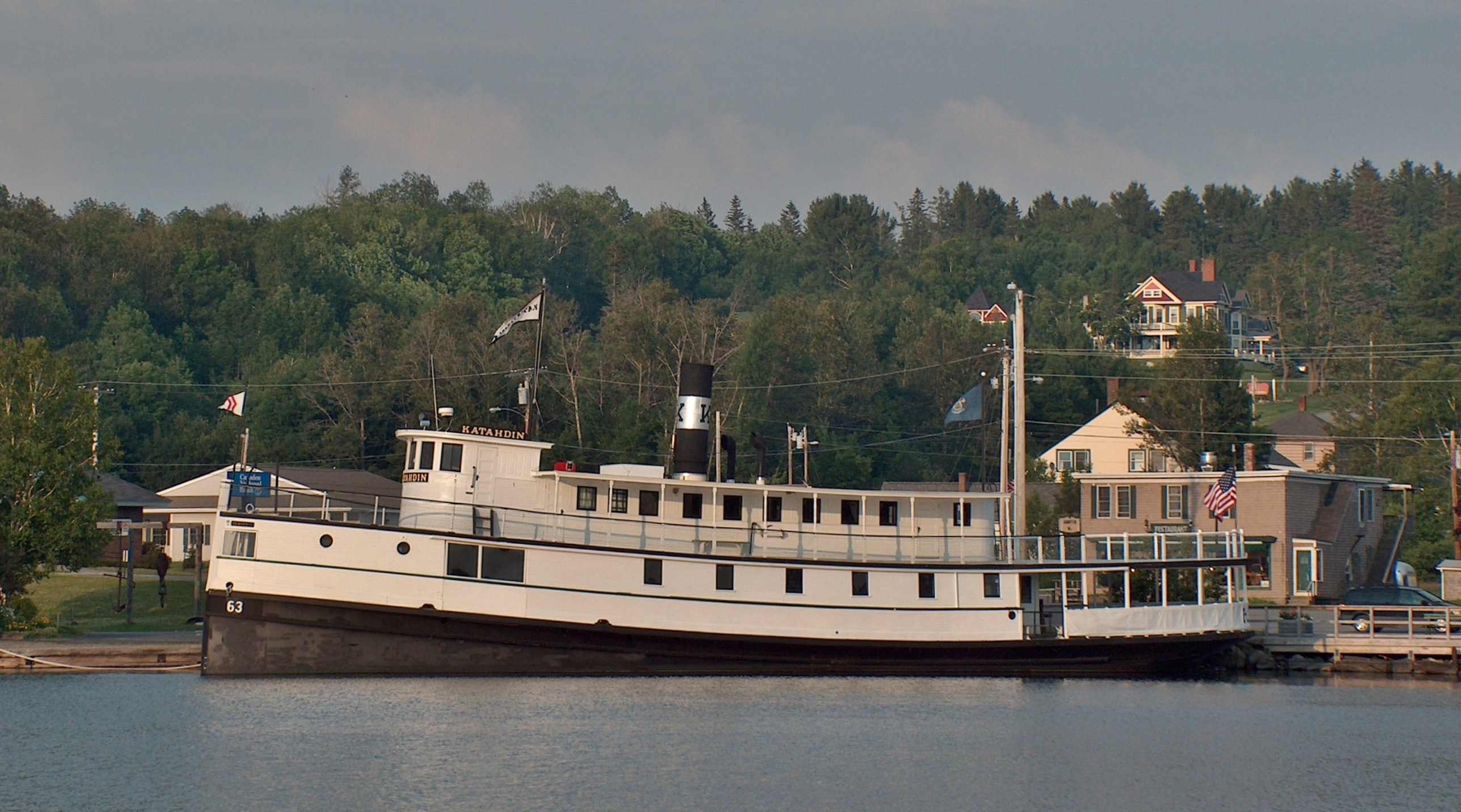 Steamship Katahdin tour boat docked at the Moosehead Marine Museum