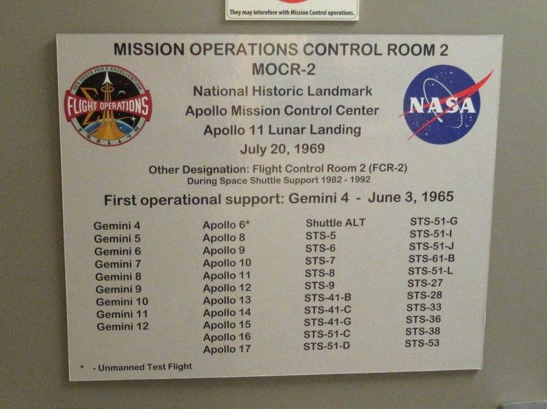 Apollo Mission Control Center Marker image. Click for full size.