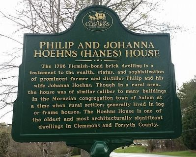 Philip and Johanna Hoehns (Hanes) House Marker image. Click for full size.