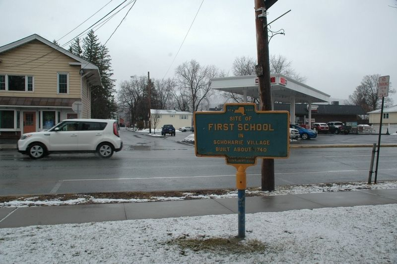 Site of First School Marker image. Click for full size.