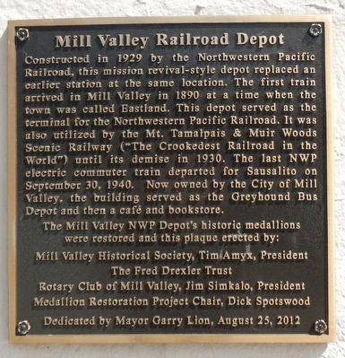 Mill Valley Railroad Depot Marker image. Click for full size.