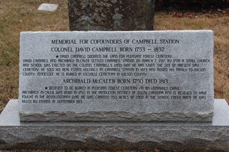 Memorial for Cofounders of Campbell Station Marker image. Click for full size.