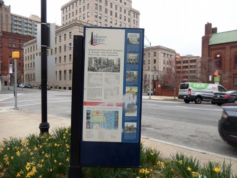 Discover Holliday Street: A Stage for Culture, Politics, and Worship Marker image. Click for full size.