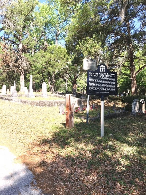 Hickory Grove Baptist Church and Cemetery Marker image. Click for full size.