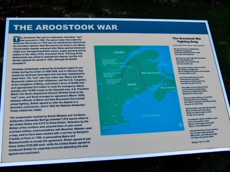 The Aroostook War Marker image. Click for full size.