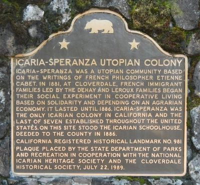 Icaria-Speranza Utopian Colony Marker image. Click for full size.