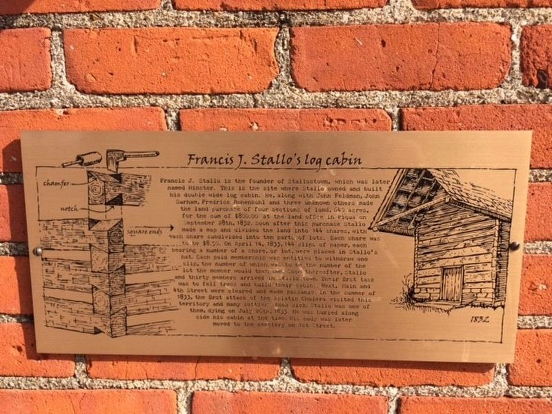 Francis J. Stallo's log cabin Marker image. Click for full size.