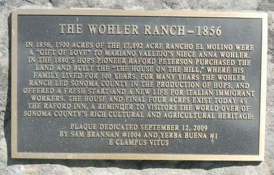 The Wohler Ranch -- 1856 Marker image. Click for full size.