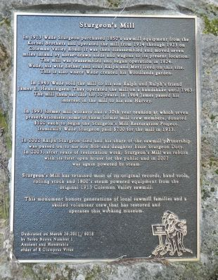 Sturgeon's Mill Marker image. Click for full size.