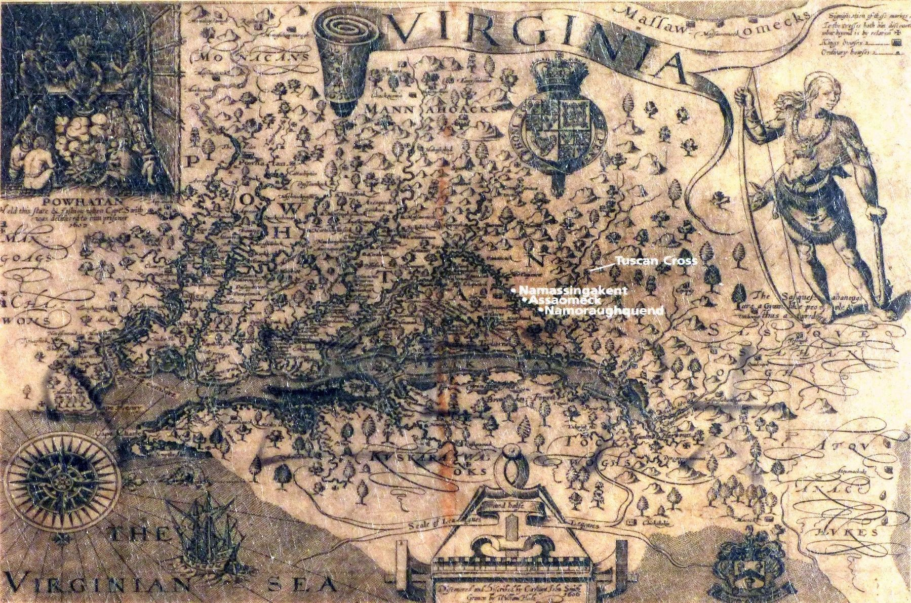 John Smith's Map of Virginia image. Click for full size.