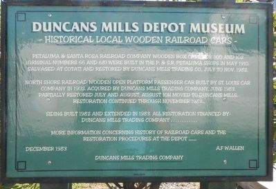 Duncans Mills Depot Museum Marker image. Click for full size.