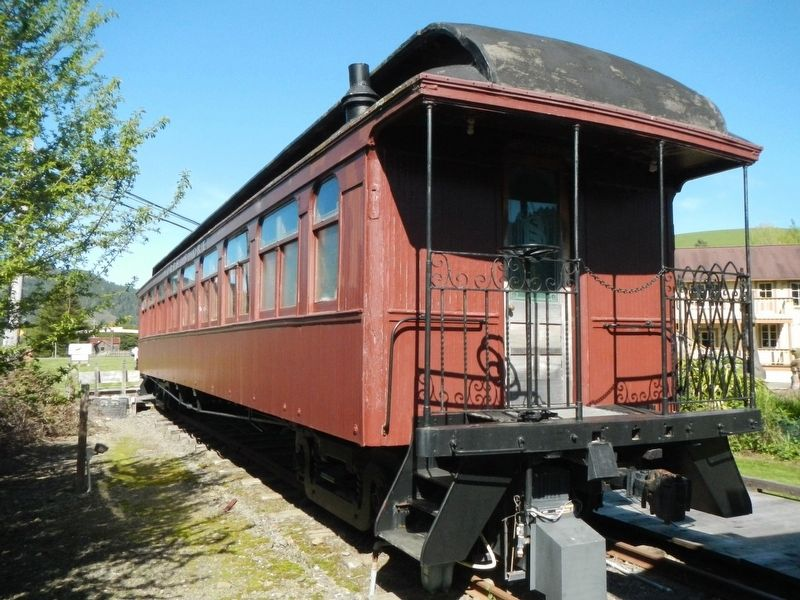 North Shore Railroad wooden open platform passenger car image. Click for full size.