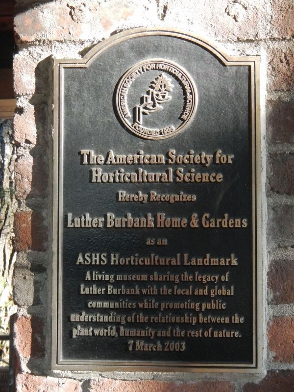 Additional plaque located at Luther Burbank Home & Gardens image. Click for full size.